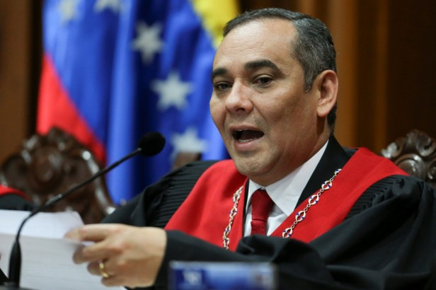 Venezuela's Supreme Court President Maikel Moreno, speaks during a news conference at the Supreme Court of Justice (TSJ) in Caracas